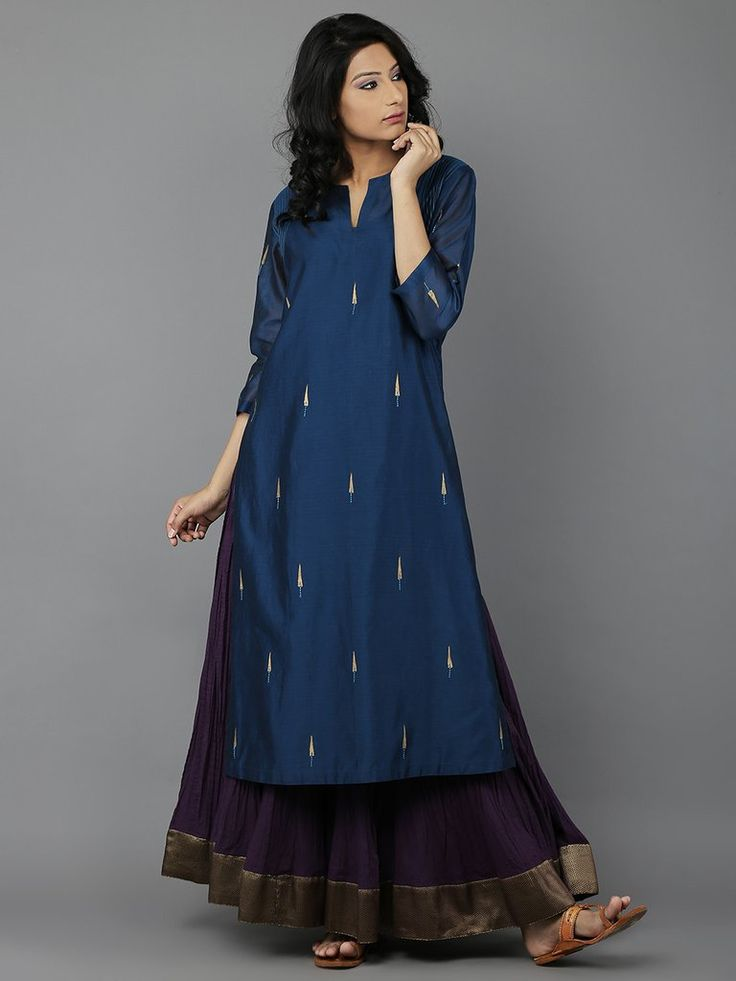 Blue Embroidered  Chanderi Kurta with Cotton Slip