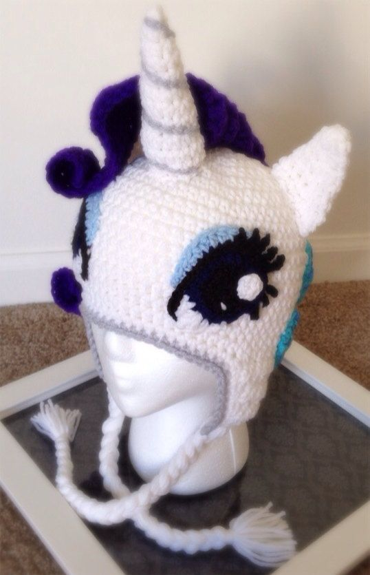 Rarity My Little Pony Crochet Beanie Hat van TwistsOfEnvy op Etsy