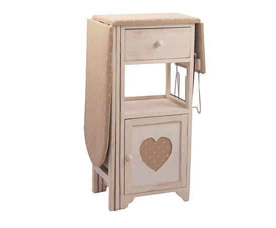 Asse da stiro con 1 cassetto e 1 anta in legno e tessuto - 126x84x30 cm