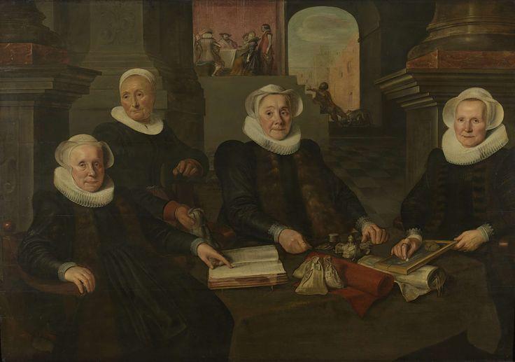 Werner van den Valckert, The three Regentesses and the Matron of the Leprozenhuis, Rijksmuseum.  Lazarus scene at the back