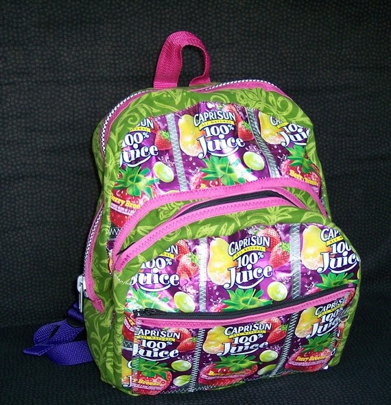 Small Berry Breeze Green Flower Capri Sun Backpack by CrazySeamstress, $79.50