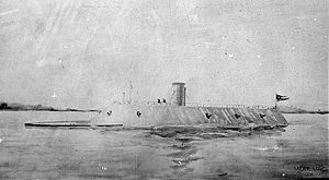 CSS Virginia was the first steam-powered ironclad warship of the Confederate States Navy, built during the first year of the American Civil War; she was constructed as a casemate ironclad using the raised and cut down original lower hull and steam engines of the scuttled USS Merrimack. Virginia was one of the participants in the Battle of Hampton Roads, opposing the Union's USS Monitor in March, 1862. The battle is chiefly significant in naval history as the first battle between ironclads.