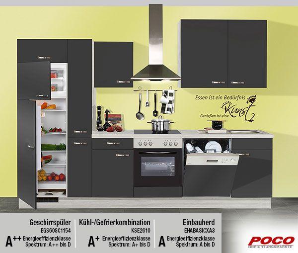 Mit der richtigen Küche kann Kochen so einfach sein. Inkl. Edelstahleinbauspüle, Einbauherd, Geschirrspüler, Glaskeramikkochfeld und Kühl-/Gefrierkombination