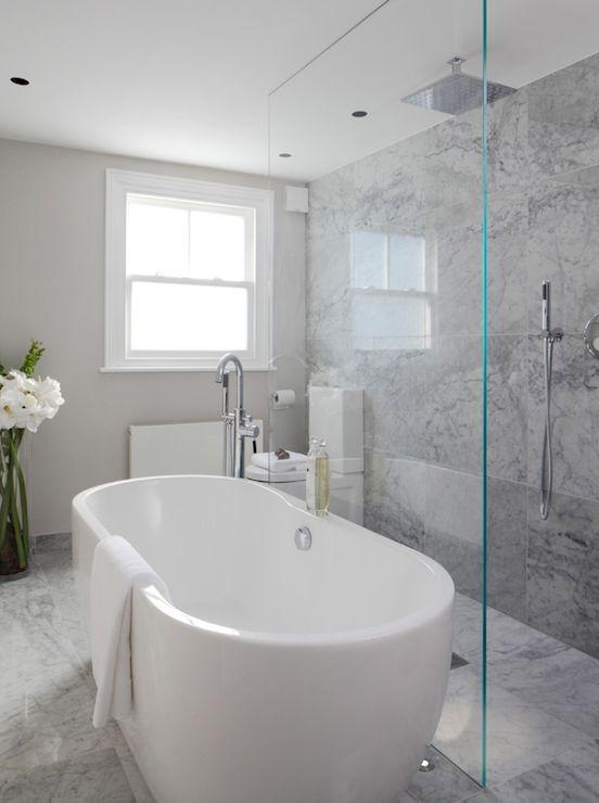Laura hammett bathrooms marble bathroom open shower open shower ideas rain shower head for Bathroom ideas with tub and shower