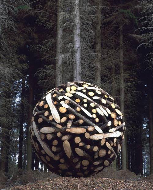 Wood ball circle by Jae HyoLee environmental land art