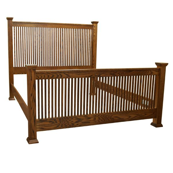This Amish MIssion Eastern Kind Bed is built in the Heartland of America by Amish craftsman and remains true to the Arts & Crafts style and tradition. It is made inspired by the work of Frank Lloyd Wright and the Arts & Crafts Movement. Furthermore, it is constructed from hand selected solid Oak.  This extraordinarily durable Amish Mission Bed is sealed with conversion varnish that protects this piece from water, oil, alcohol and even nail polish. In addition, the bed rails are a full…