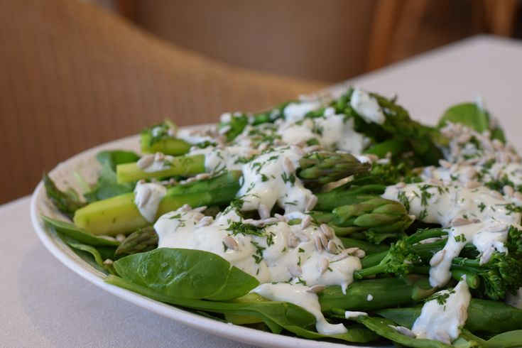 Broccoli & Asparagus salad with a Dill Yoghurt Dressing