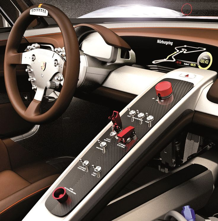 Porsche 918 RSR concept - brown grey black silver carbon fiber console switches aluminum