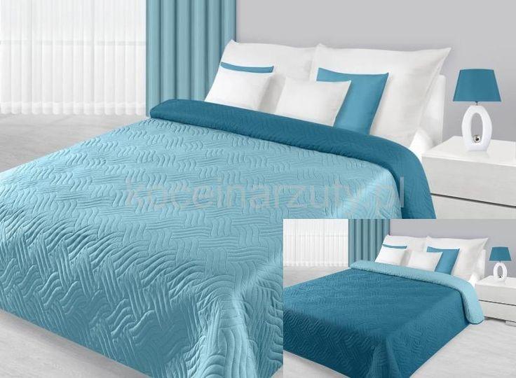 Turkusowo niebieska dwustronna narzuta i kapa na łóżko