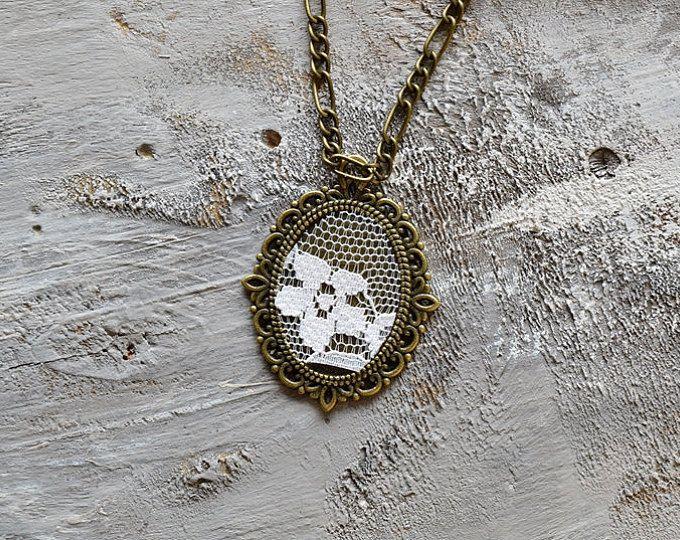 collar collar de latn antiguo collar de encaje de algodn regalo de bronce