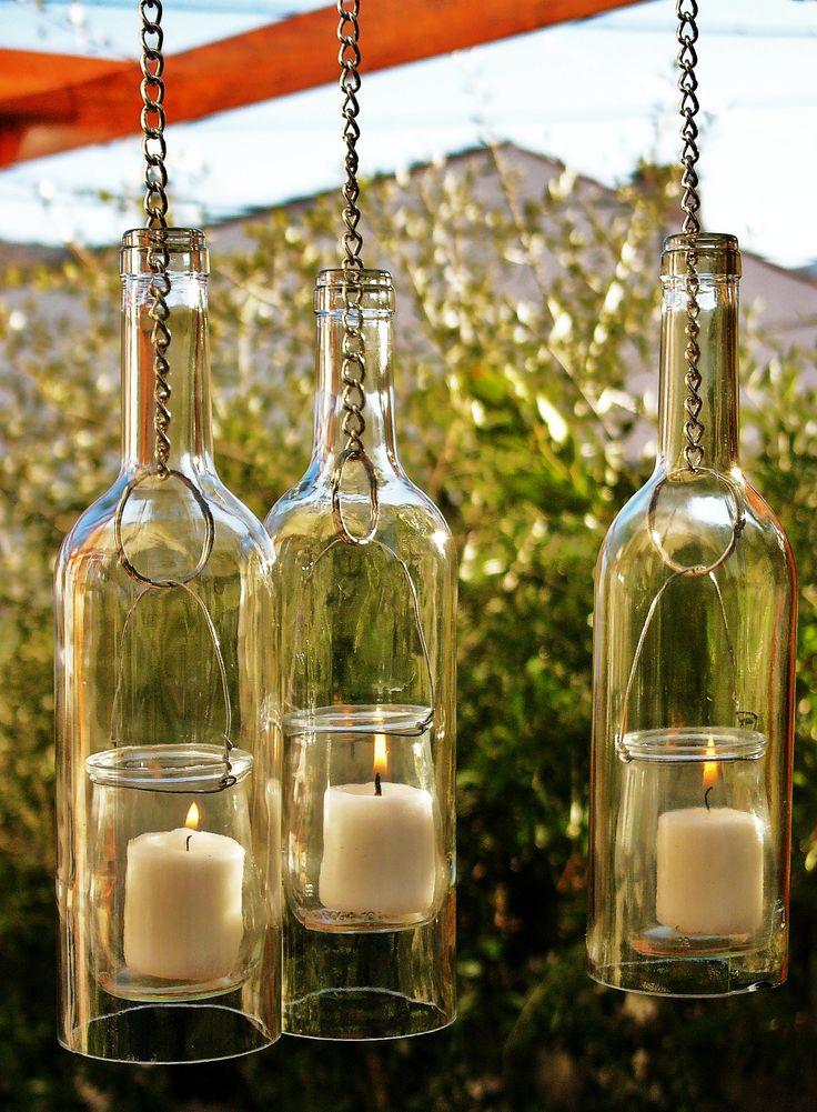 Botella fanal colgante adorno elaborado con botella y for Lamparas para cenadores