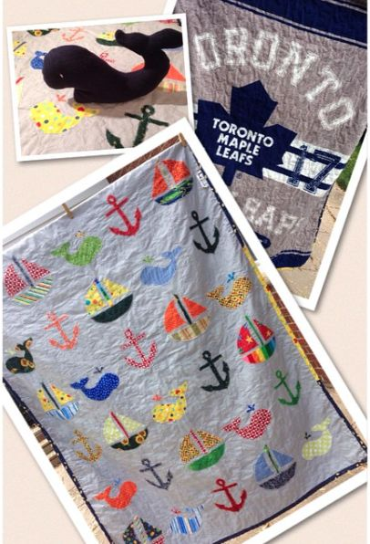 Baby quilt for a special little boy.  Raw edge appliqué.  Used a licenced NHL fleece throw as the backing.  Whale stuffy to go with!