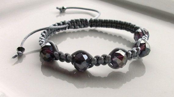 Shamballa Style Bracelet On Silver Grey Silk Cord by StrandandSoul
