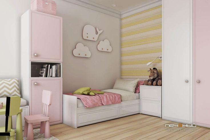 Дизайн интерьера детской для девочки.  Современный стиль.  Цвета: серый, белый, жёлтый, розовый.