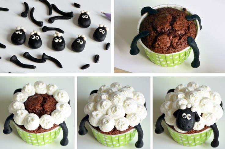pas à pas cupcake Shaun le mouton
