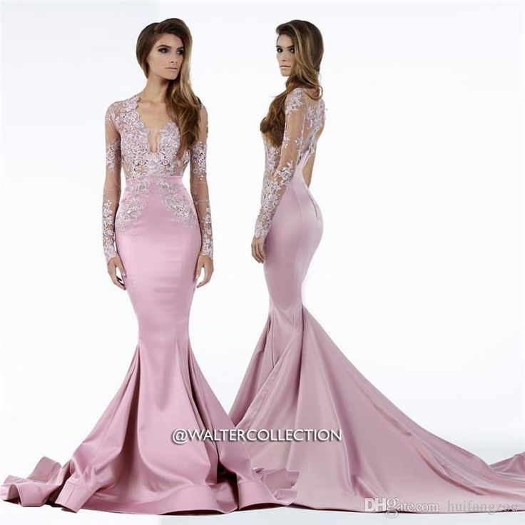 Walter Collection Long Sleeves Evening Dresses Plunging Neckline Mermaid Prom Gowns Floor Length Formal Evening Party Wear Sexy Evening Dresses Buy Dresses Online From Huifangzou, $138.88| Dhgate.Com