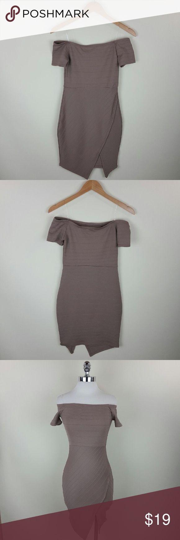 Mauve pink bandage dress Mauve pink off shoulder bandage dressContent 65% rayon 30% nylon 5% spandex Dresses Midi
