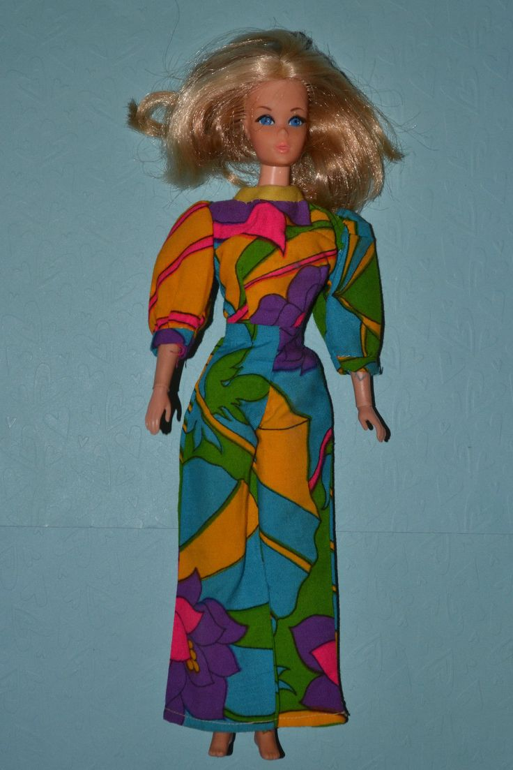 Barbie 1970 Live Action Barbie in Mod Multi Colour Jumpsuit | eBay