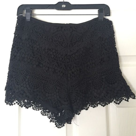 Black Crochet Shorts Black crocheted shorts from Urban Outfitters, fairly good condition Urban Outfitters Shorts