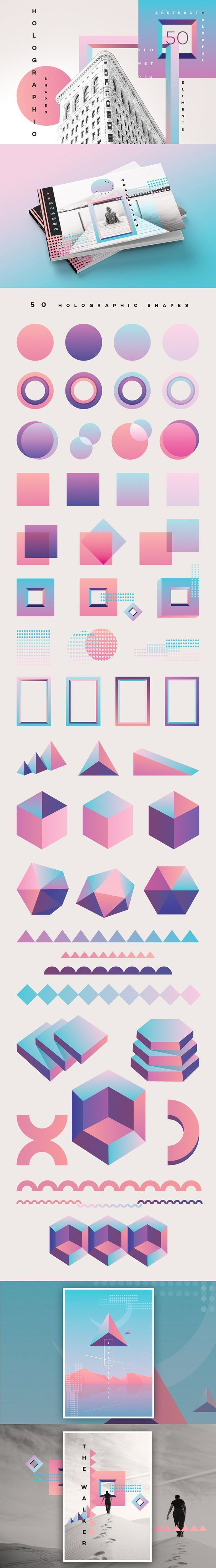 50 Holographic Shapes for posters, invitations, flyers, business cards and more: