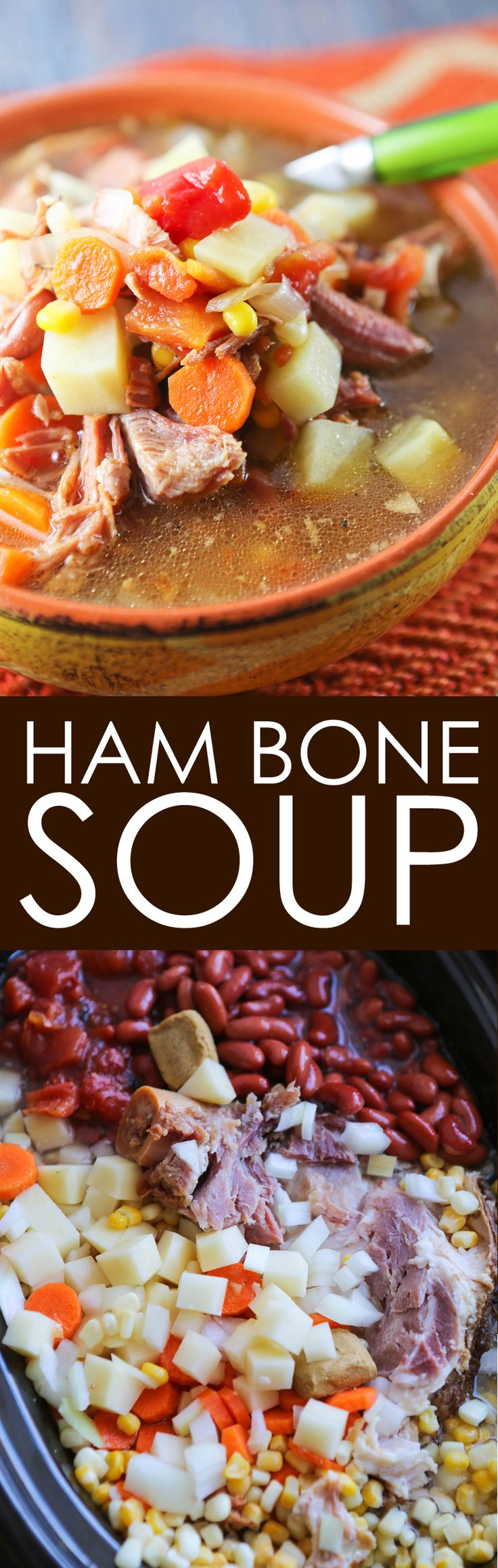 Ham Bone Soup in the Crockpot | This is such a delicious and EASY way to use up a ham bone! This soup is DELICIOUS!!