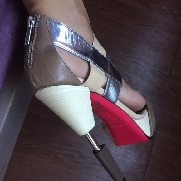 Ruthie Davis nude and silver heel High heal worn once comes with box Ruthie davis Shoes