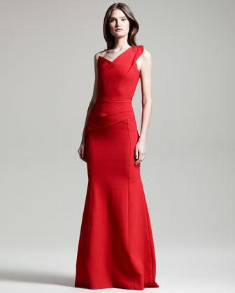 Azul One-Shoulder Gown by Roland Mouret at Bergdorf Goodman.