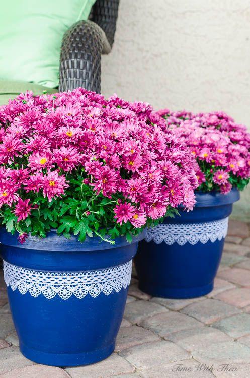 Make Beautiful Painted Lace Decoupage Plant Pots
