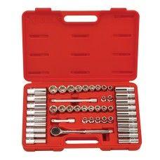 "GS-347MS Genius Tools 47 Piece 3/8"" Dr. Metric & SAE Deep Hand Socket Set (6-point)"