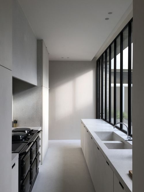 AGA oven in a minimal kitchen by Merckx
