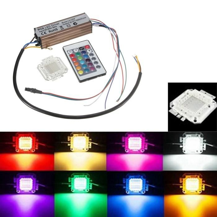 100w Rgb Chip Light Bulb Waterproof Led Driver Power Supply With Remote Controller Led Bulb Aquarium Lighting