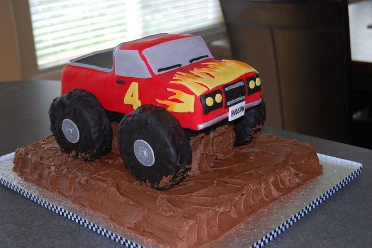 monster truck cakes for kids | Monster truck cake for Hudson's 4th birthday. Truck is WASC cake and ...