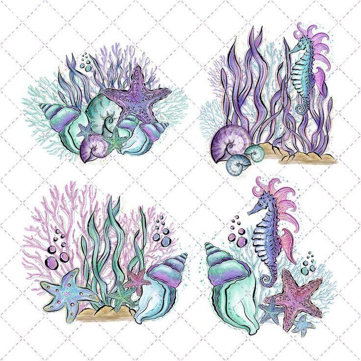 Watercolor Mermaid Kunst Mit Meerjungfrauen Aquarell