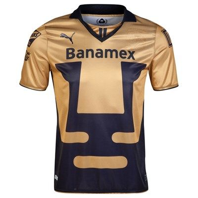 Pumas UNAM 2014 Away Shirt (Gold/Black). Available from Kitbag.com