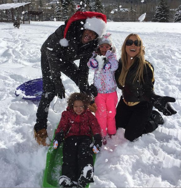 Mariah Carey & Nick Cannon Celebrate Christmas Together - http://site.celebritybabyscoop.com/cbs/2015/12/25/celebrate-christmas-together #Aspen, #Christmas, #ChristmasEve, #Colorado, #FriendlyExes, #MariahCarey, #MonroeCannon, #MoroccanCannon, #NickCannon, #Snow, #Twinning, #Twins, #Winter