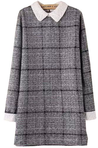 Grey Contrast Lace Collar Plaid Dress 20.83