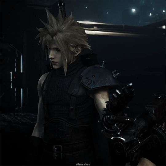 "Cloud Final Fantasy VII remake gif ""Not interested."" #FFVII"