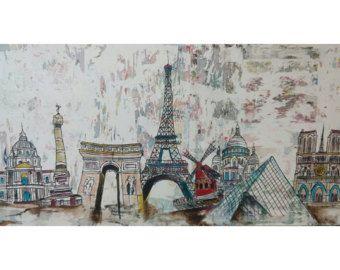 Cuadro urbano abstracto y decorativo del Skyline de Paris -    Editar anuncio  - Etsy