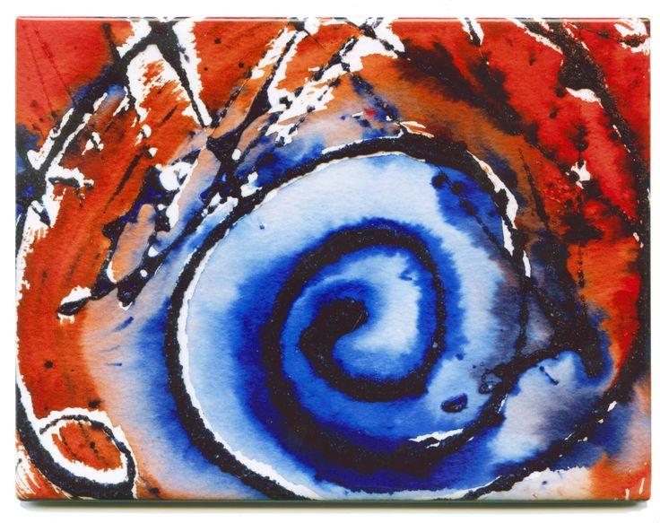 Rectangular #Ceramic #Tile displaying mixed media!