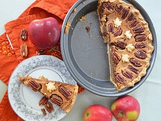 This pie was almost my entry in our parish's apple pie contest this year, but went with the brown butter sage instead. This is quite a lovely, sweet pie.: Recipe