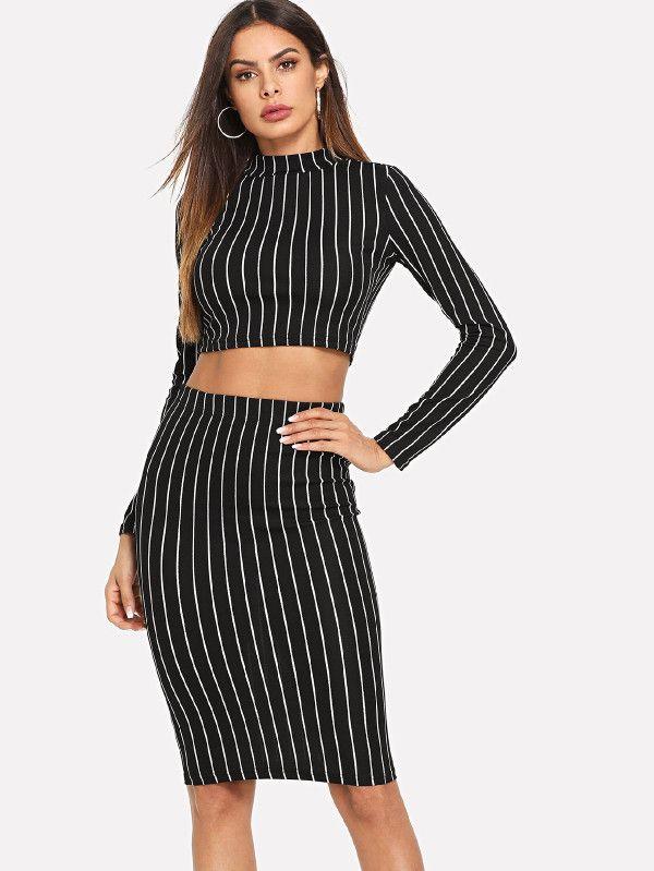07ab4180f0f83 Crop Grid Top & Pencil Skirt Co-Ord -SheIn(Sheinside) | Closet ...