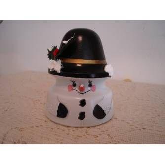 glass insulators CRAFTS | snowman on glass insulator i primed the glass telephone insulator ...