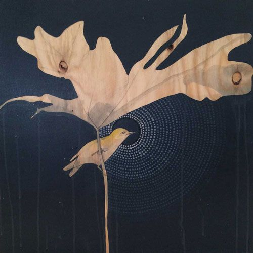 Green Finch and Monsteria artist: dana kinter