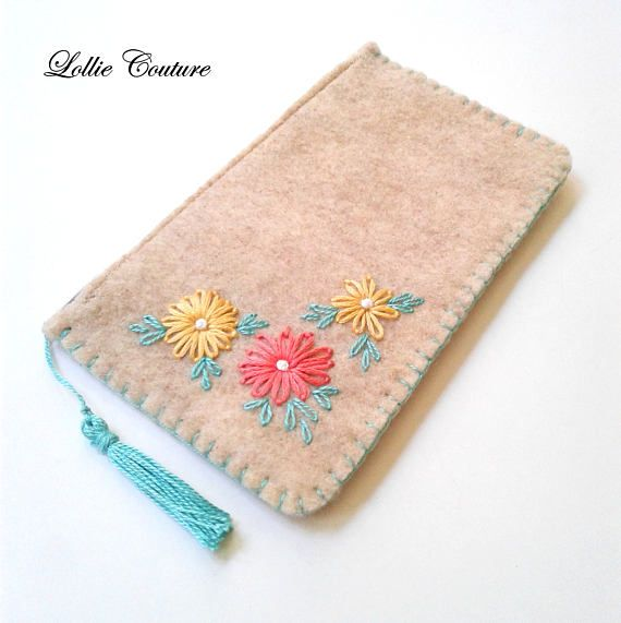 Felt coin purse felt card case embroidered pouch small