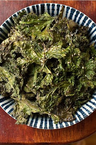 Kale crisps! I've got a half-eaten bag of kale in the fridge