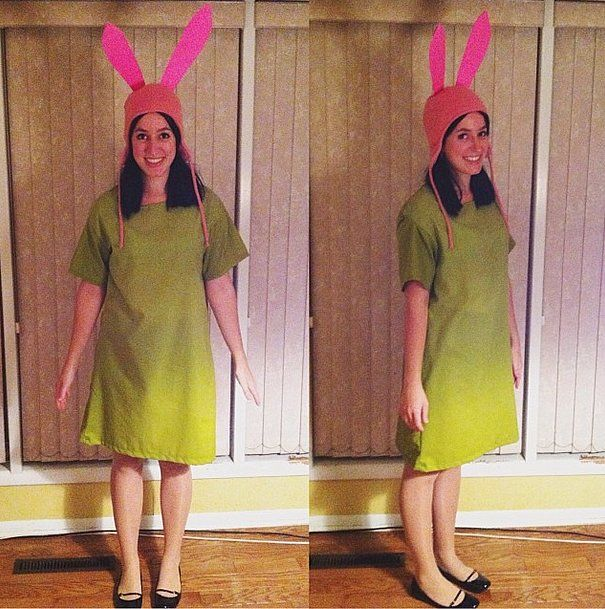 Ah, Louise (Bob's Burgers!) . . . the epitomization of sass and sarcasm. If her attitude resonates with yours, you can effortlessly imitate her outfit as well. Slip into a green dress and attach pink cutout ears to a pink beanie!