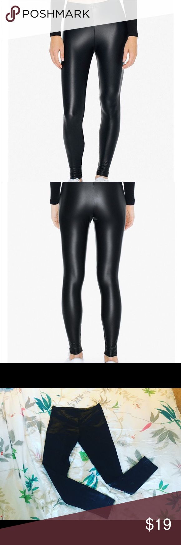American Apparel Black Metallic Legging size L American Apparel Black Metallic Legging size L. No snags or tears excellent condition. Regular waist. American Apparel Pants Leggings