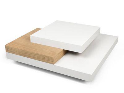 Table basse carrée design en bois blanc et chêne L90 cm SLATO