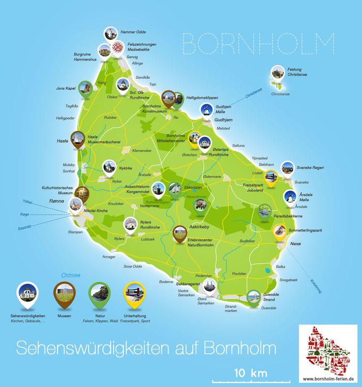 Sehenswürdigkeiten auf Bornholm #karte #sehenswuerdigkeiten #bornholm #kirchen #museen #raeuchereien #ausflugsziele
