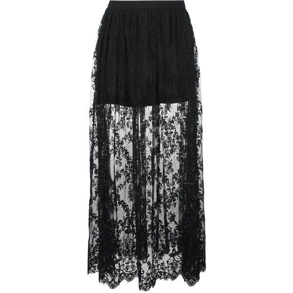 Elie Saab Maxi Lace Skirt (2,480 NZD) ❤ liked on Polyvore featuring skirts, black, long lace skirt, lacy skirt, elie saab, maxi skirt and maxi length skirts